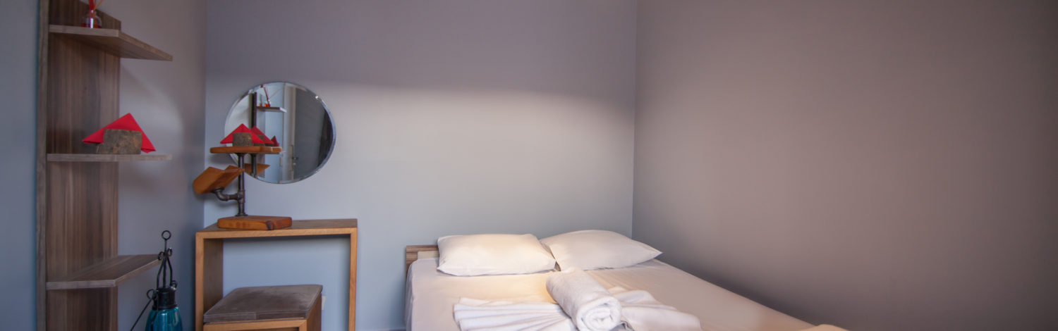 Double room with shared bathroom offers a double bed or twin beds.