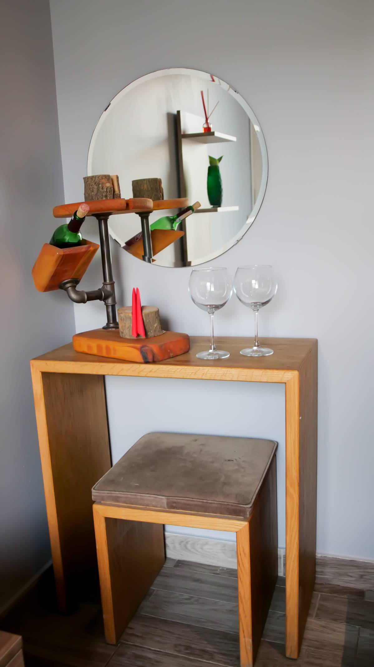 Wine setups are available in some of the rooms.